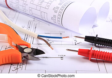 Cables of multimeter, pliers, electric wire and construction...