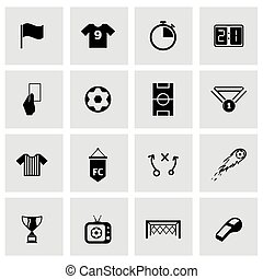 Vector black soccer icon set on grey background