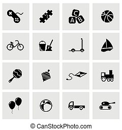 Vector black toys icon set on grey background