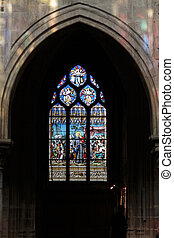 Paris - Stained glass window in the Church of Saint-Severin