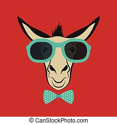 Vector image of a donkey wearing blue glasses