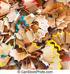 Close up colorful pencil shavings for background