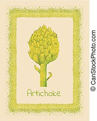artichoke and border - beautiful green grunge frame with...