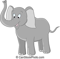 elephant - vector illustration of funny grey elephant on...