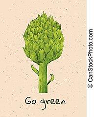 """go green - beautiful green watercolor artichoke with """"go..."""