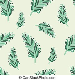 jade feather - vector seamless pattern with funky jade...