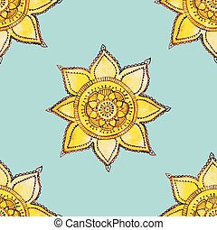 watercolor sun pattern - vector seamless pattern with hand...