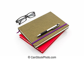 Group of book with pen and glasses.