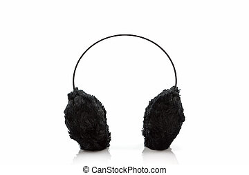 Black fuzzy winter ear muff - Black fuzzy winter ear muff on...