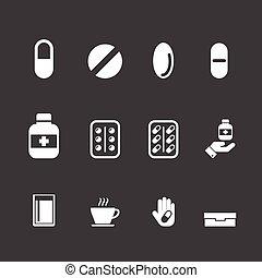 droga, medicación, vector, Conjunto,