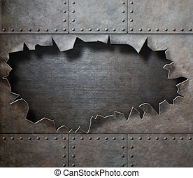 damaged metal armor with torn hole steam punk background -...
