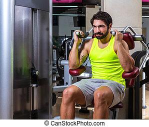 Abdominal crunch machine workout man