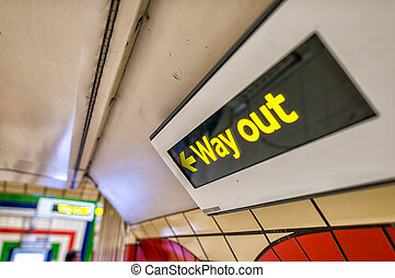 Way out sign on a underground station.