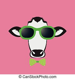 Vector images of a cow wearing glasses on pink background.