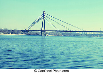 bridge across the Dnieper river, Kiev - Landscape with...