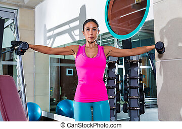 dumbbell lateral shoulder flies fly girl workout exercise at...