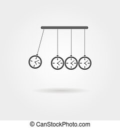 Newtons Cradle icon, concept of procrastination logo design...