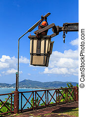electricista, hombre, Cambiar, lámpara,