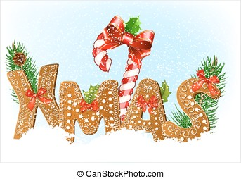 Christmas snow background with Gingerbread cookies Vector...