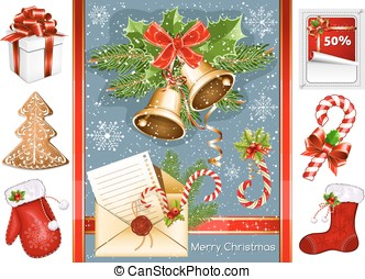Collection of Christmas traditional objects.