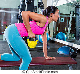 girl one arm kettlebell bent over row workout - girl one arm...