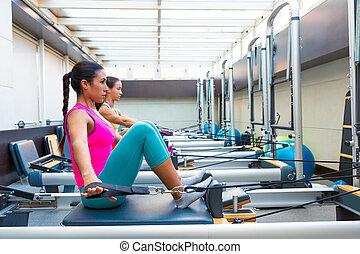 Pilates reformer workout exercises women