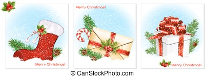 Traditional Christmas symbols. - Christmas background with...