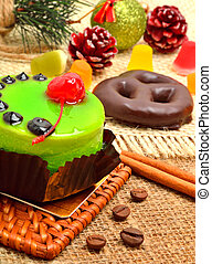 Christmas delicious green cake with cherry and cinnamon...