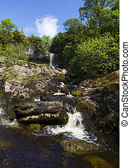 Waterfall in the Idyllic Yorkshire dales UK