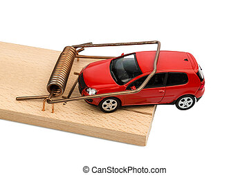 car in mousetrap - a car in a mousetrap, symbolic photo for...