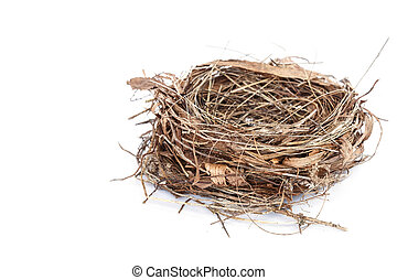 Empty bird nest isolated on white