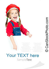 little girl with a white board - cute girl in the...