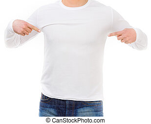 man in a white shirt with long sleeves - young man shows on...