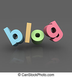 Internet blog concept - Blog word with reflection and grey...