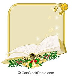 Christmas frame with book - Christmas decoration frame with...