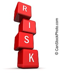 Risk concept - Cube block combined a risk word in a row with...