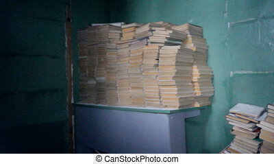 warehouse of educational books of textbooks at school - pile...