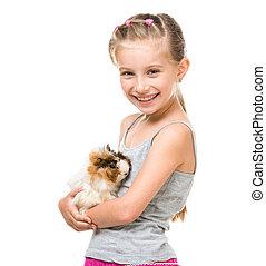 Little girl holding a guinea pig - Cute little girl holding...