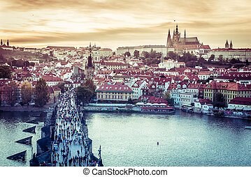 Charles Bridge and other sights in Prague - beautiful view...
