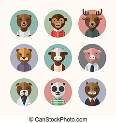 Flat design style animal avatar icon set. Vector...