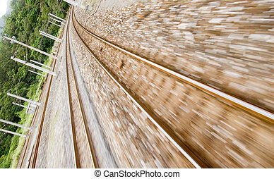 railway track with high speed motion blur