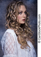 girl with elegant vintage style - pretty curly blonde woman...