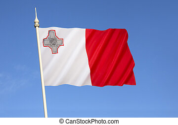 Flag of Malta - A representation of the George Cross,...