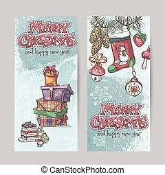 Set of vertical Christmas cards with flashlights, bells and...