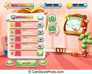 An example of one of the screens of the computer game with a...