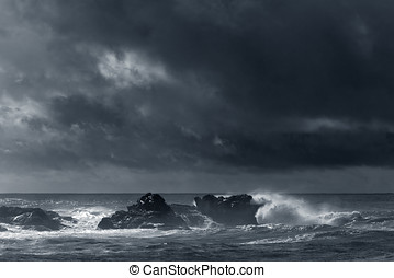 Moody seascape - Autumn moody seascape with interesting...