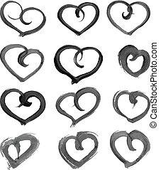 heart shape paint on paper - Big set of hand-drawn heart...