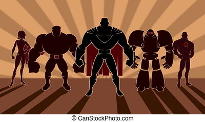 Superhero Team - Looping animation of team of superheroes...