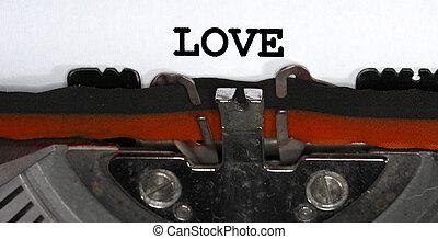 Typewriter Types LOVE Closeup