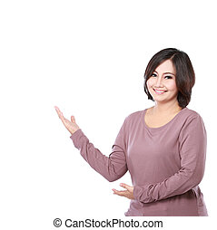 Woman presenting blank area - portrait of middle aged casual...
